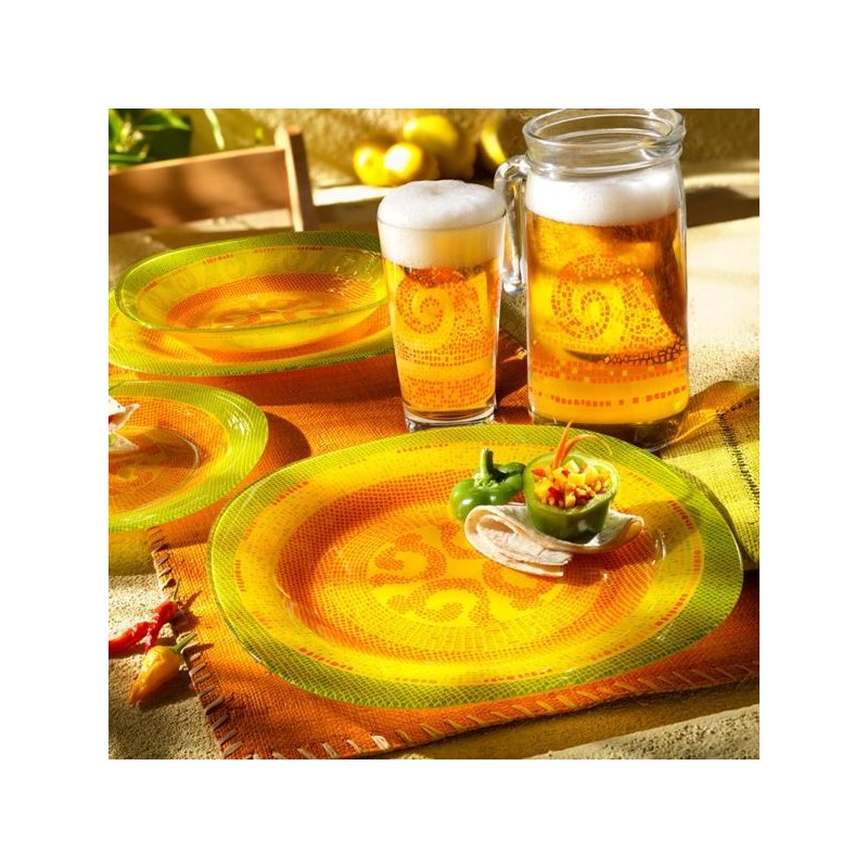 Farfurie adanca sticla Bormioli Bisancio Arancio 23 cm