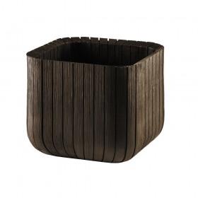 Ghiveci patrat maro imitatie lemn fara farfurie Keter Cube M
