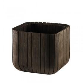 Ghiveci patrat maro imitatie lemn fara farfurie Keter Cube L