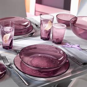 Farfurie adanca sticla Bormioli Hya Purple 23 cm