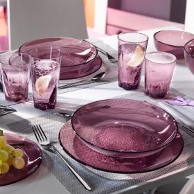 Set masa 24 piese sticla Bormioli Hya Purple