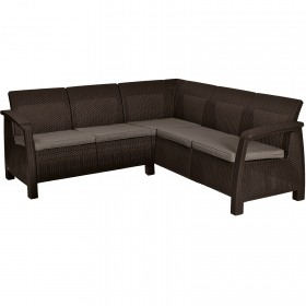 Set mobilier gradina fara masa maro Keter Corfu Relax