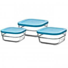 Set 3 cutii alimente dreptunghiulare sticla Pasabahce Gourmet