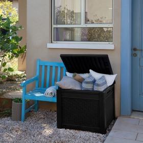 Cutie depozitare patrata tip scaun maro Keter Cube 208 L