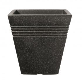 Ghiveci imitatie marmura negru fara farfurie Keter Piazza 34 cm 18 L