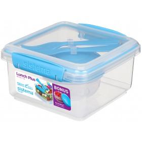 Cutie alimente cu tacamuri din plastic si mini bol Sistema Lunch Plus To Go 1.2L