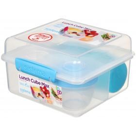 Cutie alimente din plastic Cube Max 2L cu sticla pentru apa 385 Ml