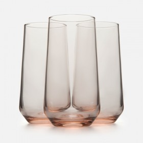 Set 3 pahare long drink roz Pasabahce Allegra 470 ml