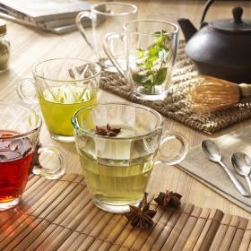 Set 6 cesti ceai sticla Bormioli Cube 320 ml