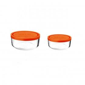 Set 2 caserole rotunde portocalii 1250 ml + 740 ml Bormioli Gelo