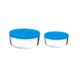 Set 2 caserole rotunde albastru 1250 ml + 740 ml Bormioli Gelo