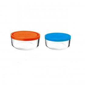 Set 2 caserole rotunde portocaliu/albastru 1250 ml + 740 ml Bormioli Gelo
