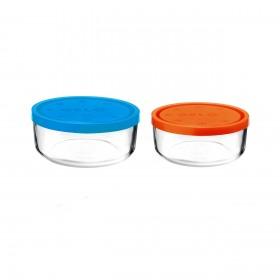 Set 2 caserole rotunde albastru/portocaliu 1250 ml + 740 ml Bormioli Gelo