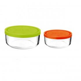 Set 2 caserole rotunde verde/portocaliu 1250 ml + 740 ml Bormioli Gelo