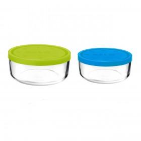 Set 2 caserole rotunde verde/albastru 1250 ml + 740 ml Bormioli Gelo