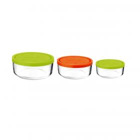 Set 3 caserole rotunde verde/portocaliu/verde 1250 ml + 740 ml + 340 ml Bormioli Gelo
