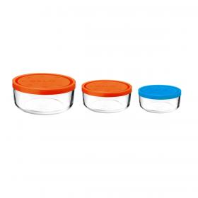 Set 3 caserole rotunde portocaliu/portocaliu/albastru 1250 ml + 740 ml + 340 ml Bormioli Gelo