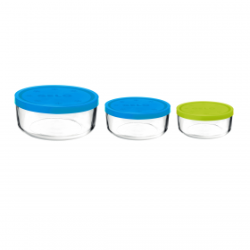 Set 3 caserole rotunde albastru/albastru/verde 1250 ml + 740 ml + 340 ml Bormioli Gelo