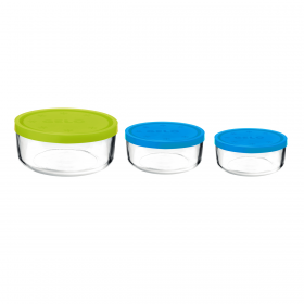 Set 3 caserole rotunde verde/albastru/albastru 1250 ml + 740 ml + 340 ml Bormioli Gelo