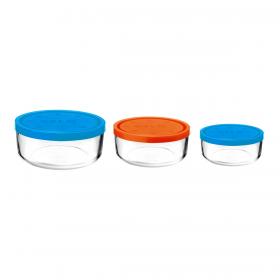 Set 3 caserole rotunde albastru/portocaliu/albastru 1250 ml + 740 ml + 340 ml Bormioli Gelo