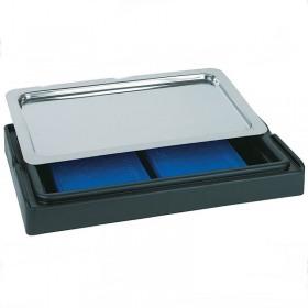 Platou inox rectangular cu capac negru 44 x 32 x 20.5 cm APS