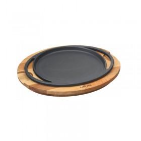 Tava pizza/clatite cu suport din lemn 20 cm - Lava