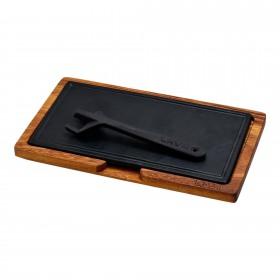 Platou servire fonta cu suport din lemn 16 x 30 cm - Lava