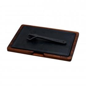 Platou servire fonta cu suport din lemn 20 x 30 cm - Lava