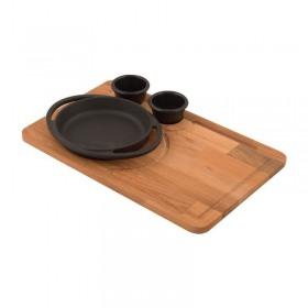 Platou servire fonta 25cm  cu tava lemn servire 25 x 395 cm - Lava