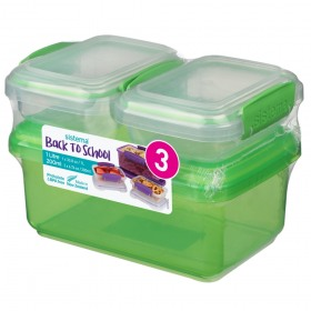 Set 3 cutii depozitare alimente plastic Sistema Back To School 1L + 2 x 200 ml