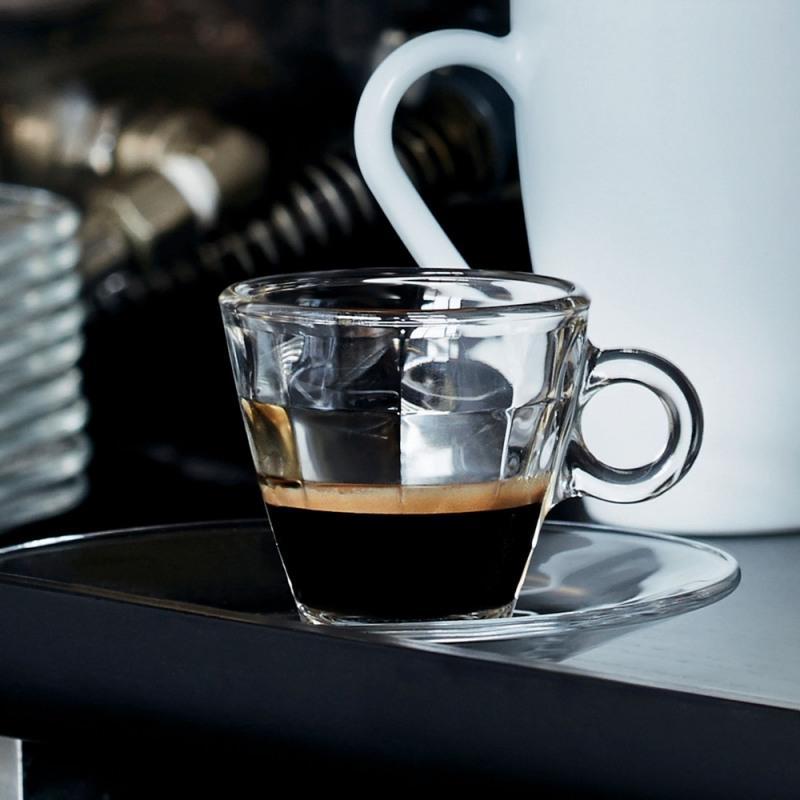 Set 6 cesti si 6 farfurii espresso Bormioli Cube 100 ml