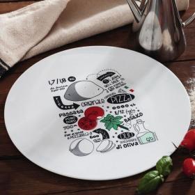 Farfurie rotunda opal servire pizza model reteta Bormioli Ronda 33 cm
