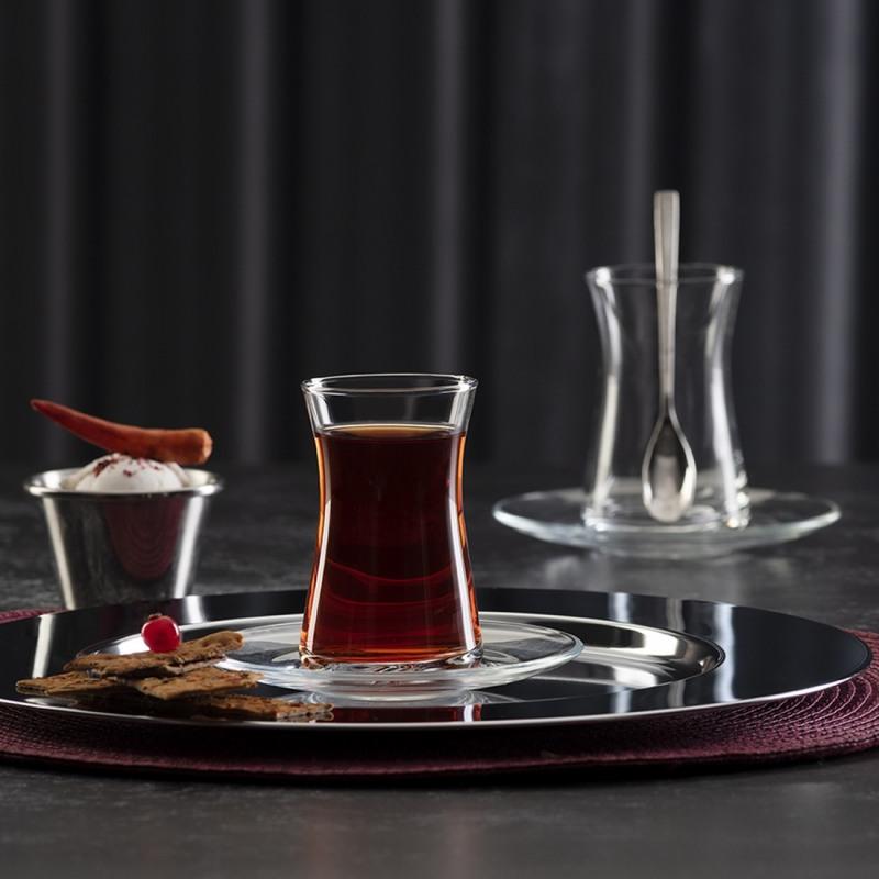 Set 4 pahare si farfurii pentru ceai turcesc Pasabahce Heybeli 160 ml