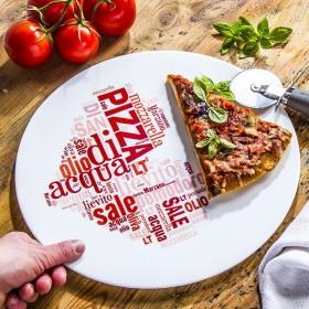 Platou pizza opal inima rosie Bormioli Ronda 33 cm