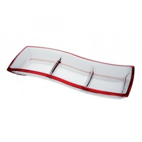 Platou rectangular compartimentat Walther Glass Cherry Red 41 cm