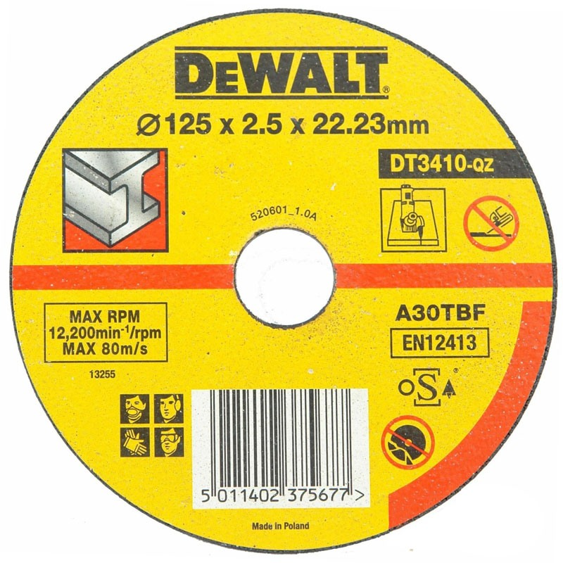 Disc abraziv DeWALT DT3410 plat taiere metal 125mm