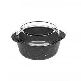Vas termorezistent rotund gri inchis cu capac Pasabahce Borcam Granit 1.45 L