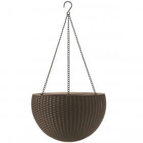 Ghiveci sferic suspendat imitatie ratan maro mocha Keter Cylinder 8.6 L