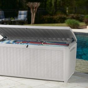 Lada depozitare piscina alb Keter Rattan 500 L