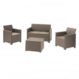 Set mobilier gradina 4 locuri si masa cu spatiu depozitare cappuccino Keter Emma