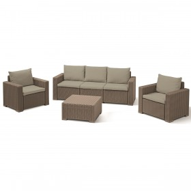 Set mobilier gradina cu canapea Keter California 3 locuri cappuccino