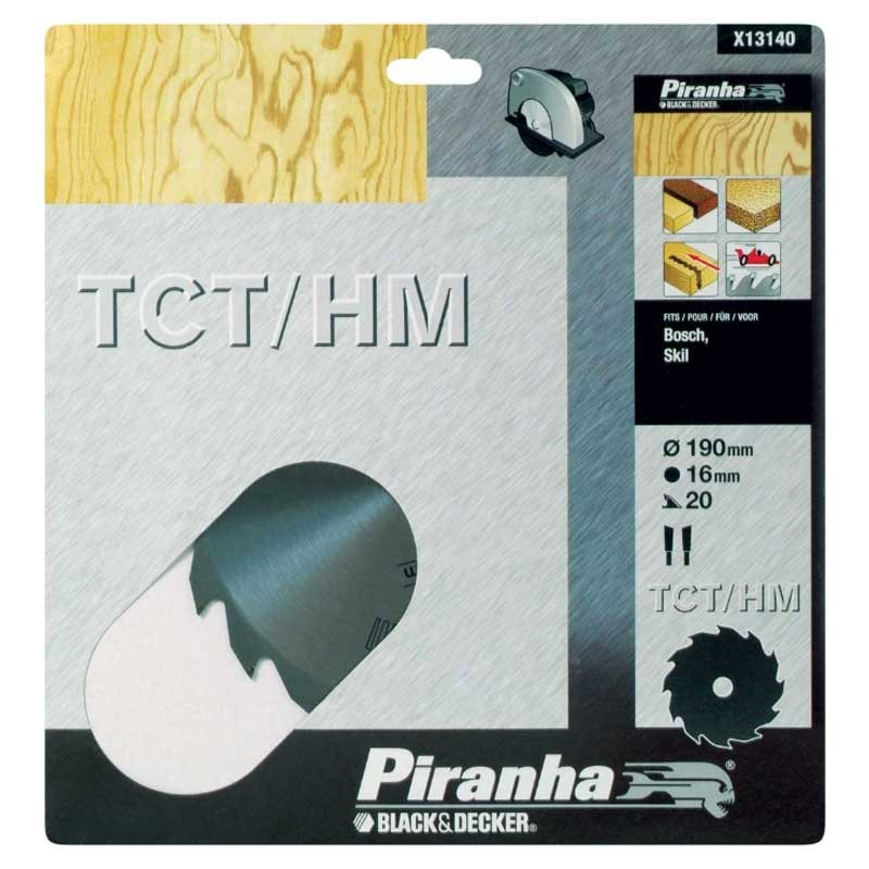 Disc Black+Decker X13140 pentru lemn  TCT 190x16mm - 20T