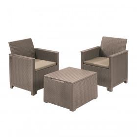 Set mobilier gradina 2 locuri si masa cu spatiu depozitare cappuccino Keter Emma