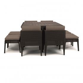 Set mobilier gradina maro Keter Columbia 9 piese