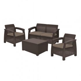 Set mobilier gradina maro Keter Corfu Box