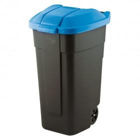 Cos pentru gunoi negru capac albastru cu roti transport Keter Refuse 110 L