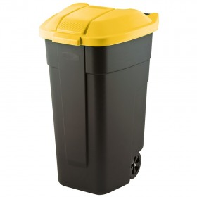 Cos pentru gunoi negru capac galben cu roti transport Keter Refuse 110 L