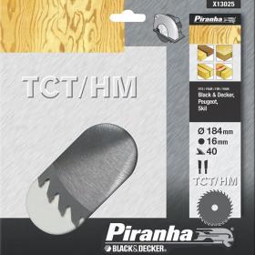 Disc 184 x 16 mm Black+Decker X13025 Lemn TCT  HM 32Z
