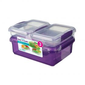 Pachet 3 cutii depozitare alimente plastic mov Sistema Back To School 2L + 2 x 350 ml