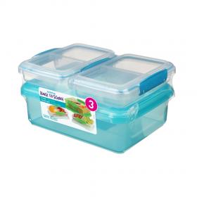Pachet 3 cutii depozitare alimente plastic albastru Sistema Back To School 2L + 2 x 350 ml